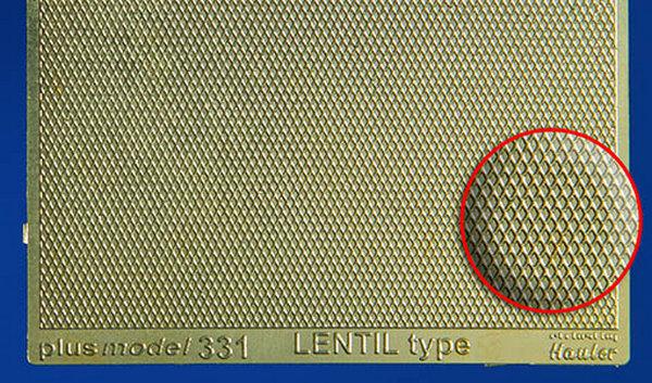 Plech s reliefem - Lentil type